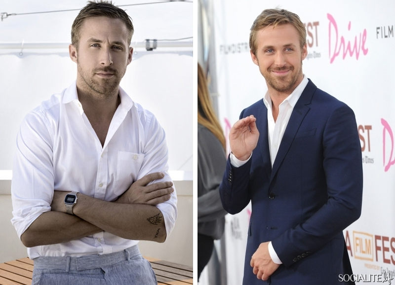 Ryan Gosling creating 2 separate outfits with a white dress shirt.