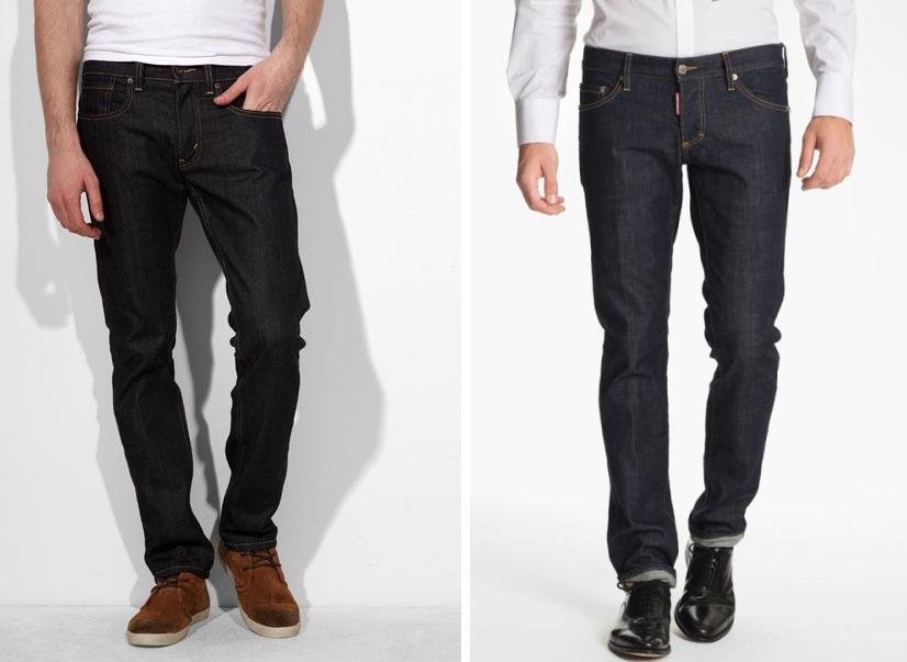 Levis on the left: $50. Dsquared2 on the right: $500. They both look the same except for the goofy tag on the crouch of the dsquared2.