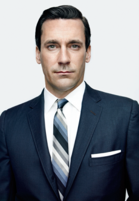 Our eyes are drawn to Jon Hamm's face because of his high contrast outfit coupled with his high contrast complexion.