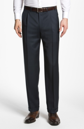 A subtle, single pleat still looks clean (image from Nordstrom).