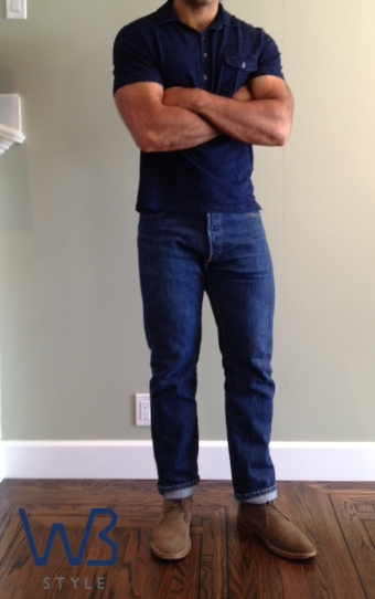 A pair of Levi's 501s that I had the waist taken in and tapered below the knee.