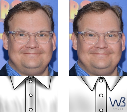 If you have a round or a portly face, avoid wider collars like the plague.