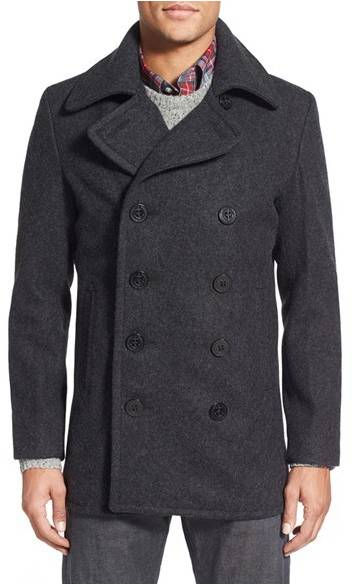 schott nyc slim fit pea coat